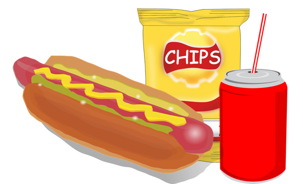 Hotdog And Chips Clipart Hot Dog, Chips and a D...